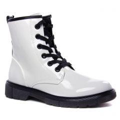 bottines-a-lacets blanc vernis: même style de chaussures en ligne pour femmes que les Tamaris