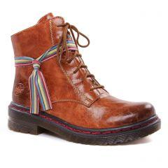 Chaussures femme hiver 2020 - bottines à lacets rieker marron