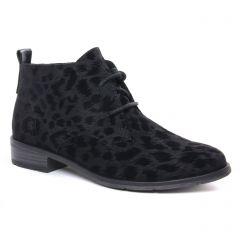 Chaussures femme hiver 2020 - bottines à lacets marco tozzi noir léopard