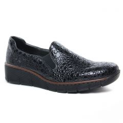 Chaussures femme hiver 2020 - Mocassins Slippers rieker vernis noir