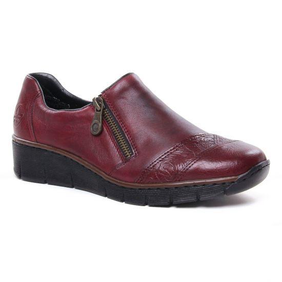 Mocassins Rieker 53761-35 Vino, vue principale de la chaussure femme