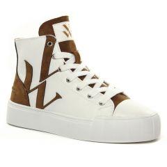 Chaussures femme hiver 2021 - baskets mode Vanessa Wu blanc marron