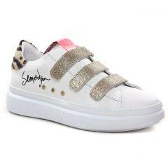 baskets-mode blanc doré: même style de chaussures en ligne pour femmes que les Tamaris