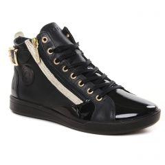 Chaussures femme hiver 2021 - baskets mode Pataugas noir doré