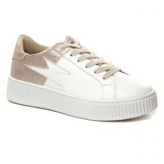 Chaussures femme hiver 2021 - baskets plateforme Vanessa Wu rose blanc