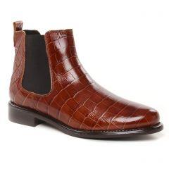 Chaussures femme hiver 2021 - boots élastiquées Scarlatine marron croco