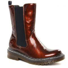 Chaussures femme hiver 2021 - boots élastiquées rieker marron vernis