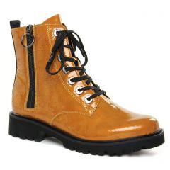 Chaussures femme hiver 2021 - bottines à lacets Remonte jaune miel
