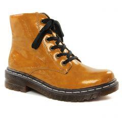 Chaussures femme hiver 2021 - bottines à lacets rieker jaune miel