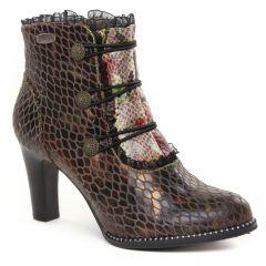 Chaussures femme hiver 2021 - bottines à lacets Laura Vita marron multi