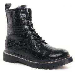 bottines-a-lacets noir croco: même style de chaussures en ligne pour femmes que les Tamaris