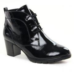 Chaussures femme hiver 2021 - bottines à lacets marco tozzi noir vernis