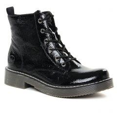 Chaussures femme hiver 2021 - bottines à lacets rieker vernis noir