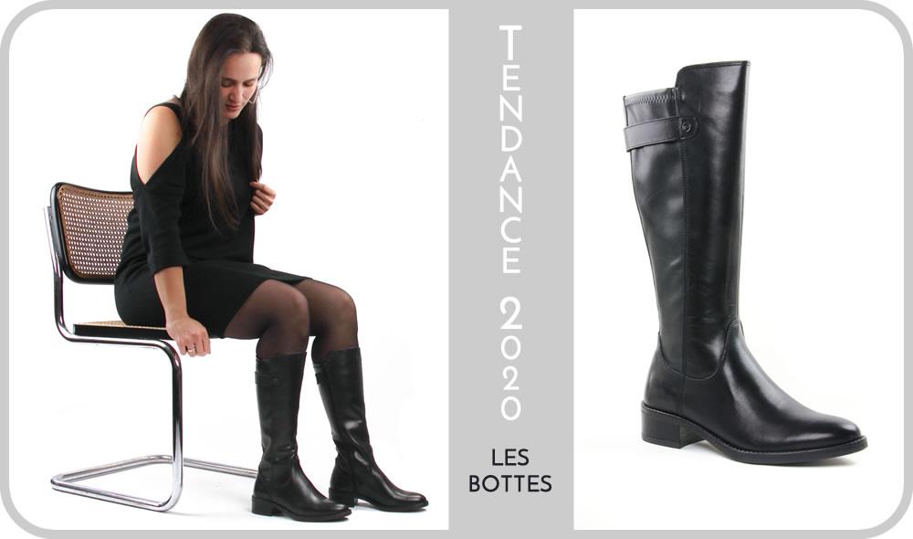 bottes noir marron tendance femme hiver 2020
