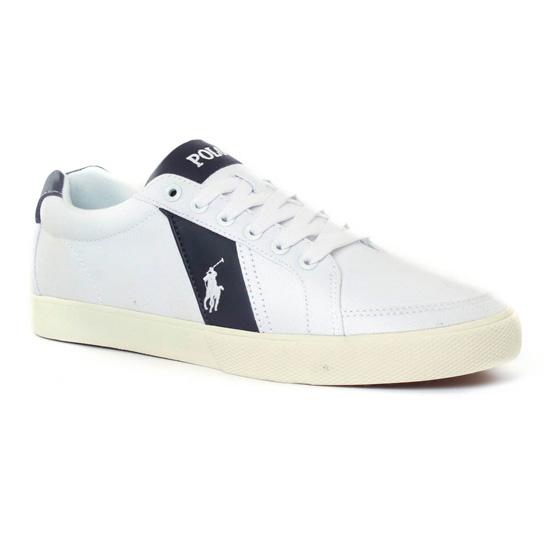 Tennis Polo Ralph Lauren y0470 White Black, vue principale de la chaussure homme