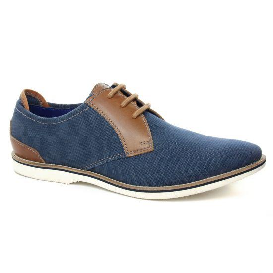 Chaussures Basses À Lacets Bugatti 45102 Bleu Cognac, vue principale de la chaussure homme