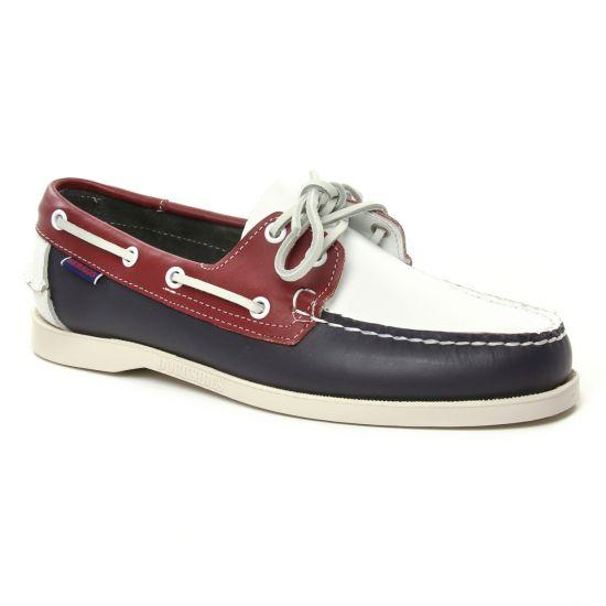 Mocassins Et Bateaux Sebago Portland Navy Red, vue principale de la chaussure homme