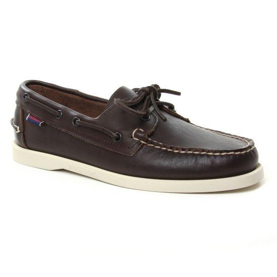 Mocassins Et Bateaux Sebago Docksides Dk Brown Lea, vue principale de la chaussure homme