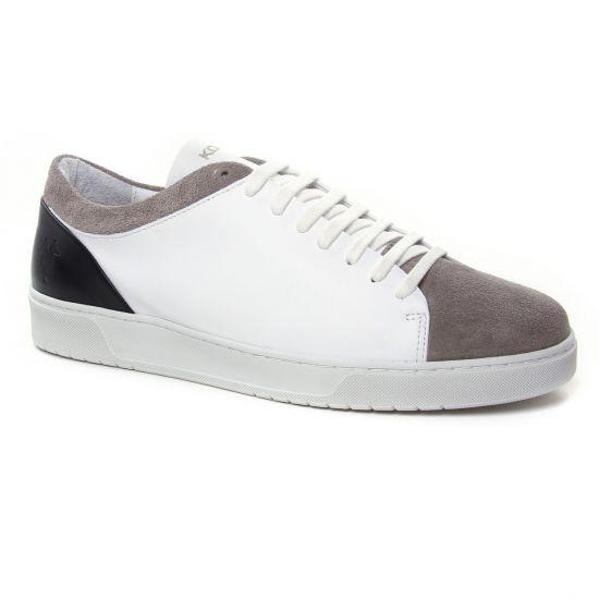 Tennis Kost Fripon Taupe Blanc, vue principale de la chaussure homme
