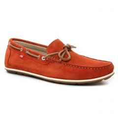 Chaussures homme été 2021 - mocassins bateaux Fluchos rouge orangé