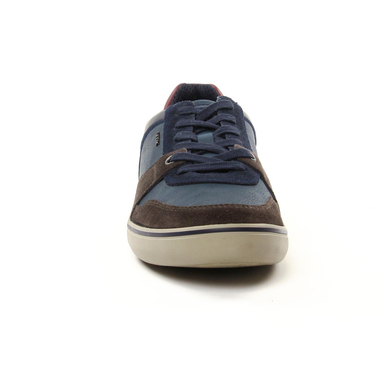 Geox U74R3A Dk Coffee Navy | tennis bleu marron automne
