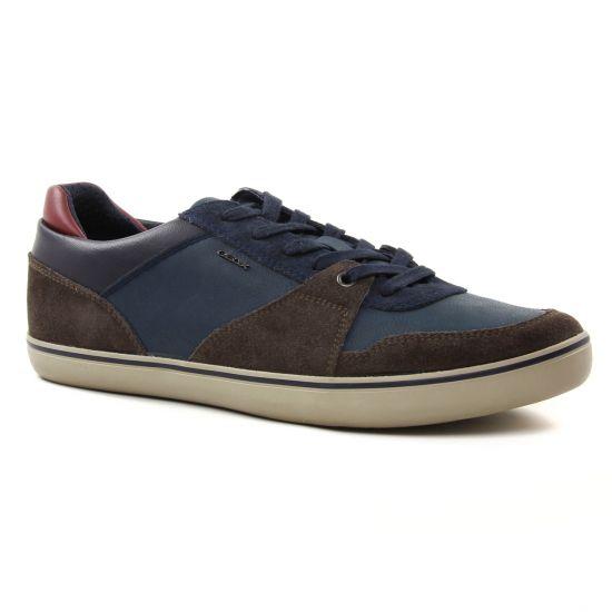 Tennis Geox U74R3A Dk Coffee Navy, vue principale de la chaussure homme