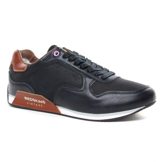 Tennis Redskins Ricomi Noir Cognac, vue principale de la chaussure homme