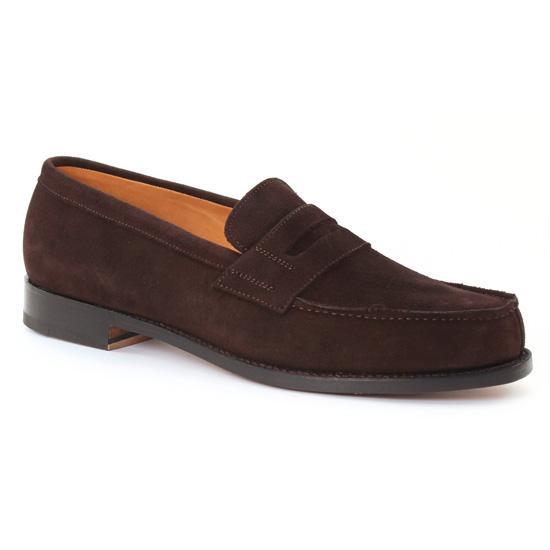 Mocassins Et Bateaux Boston G4592 suede marron foncé, vue principale de la chaussure homme
